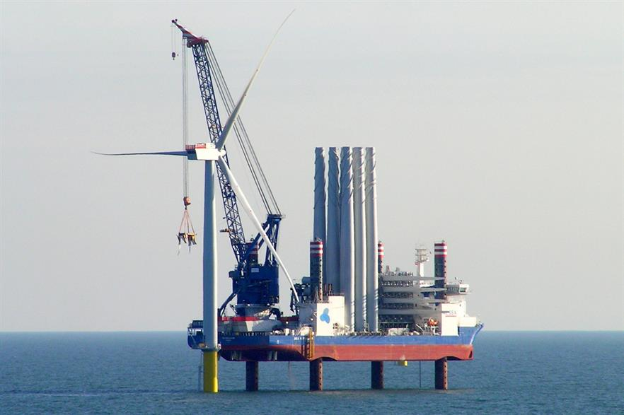 The first turbine being installed at the West of Duddon Sands project by A2Sea