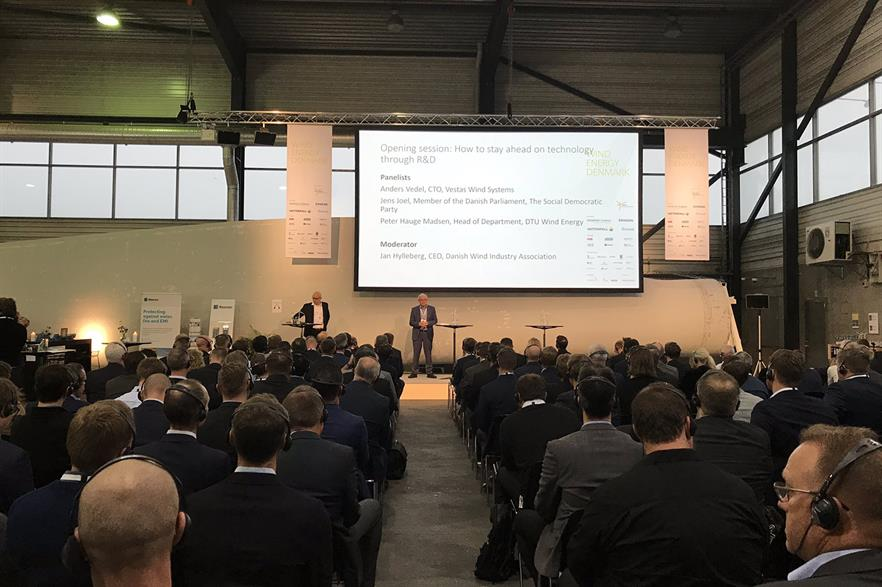 Vestas CTO addresses delegates at Wind Energy Denmark 2018 (pic: DWIA)