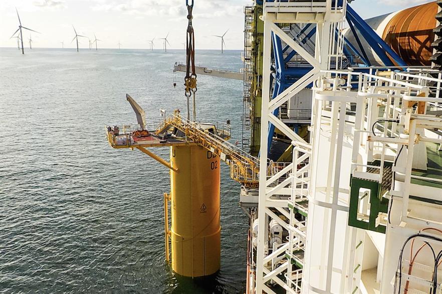 The first foundation was installed at Deutsche Bucht in early September (pic credit: Northland Deutsche Bucht)
