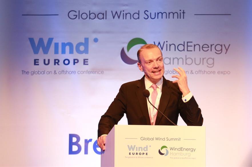 WindEurope CEO Giles Dickson speaking at the Global Wind Summit in Hamburg