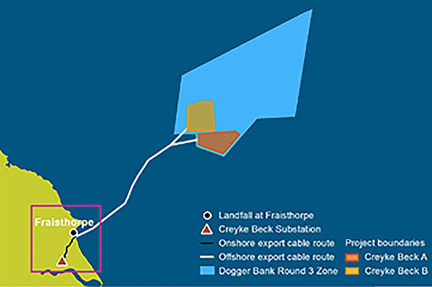 Creyke Beck A and B will be located 131 kilometres off the coast of the UK