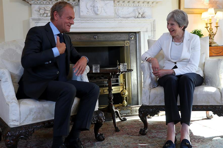 President of the European Council Donald Tusk (left) with UK prime minister Theresa May in June (pic: Number 10)