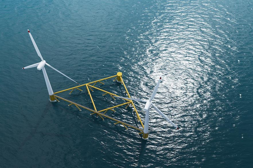 Hexicon's foundation design features two turbines to a single platform