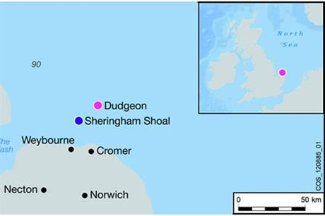 Dudgeon will be located off the coast of Norfolk