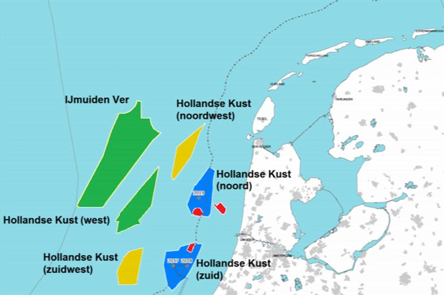 The Dutch government highlights three newly proposed zones (North of Wadden Islands out of shot) in its 2030 roadmap