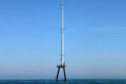 The Cape Wind meteorological tower, the first part of the project to be built