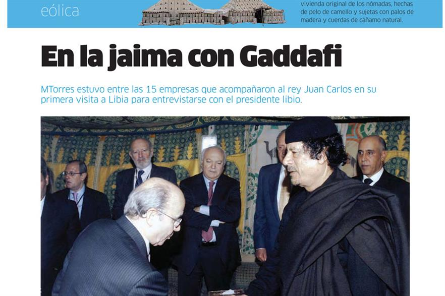 Deal… MTorres founder Manuel Torres receives contract from Gadaffi as pictured in company newspaper