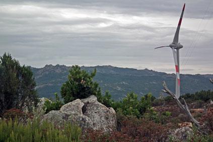 A 2 MW Enercon turbine at Falck's 138 MW Buddusò-Alà dei Sardi wind farm, currently under construction