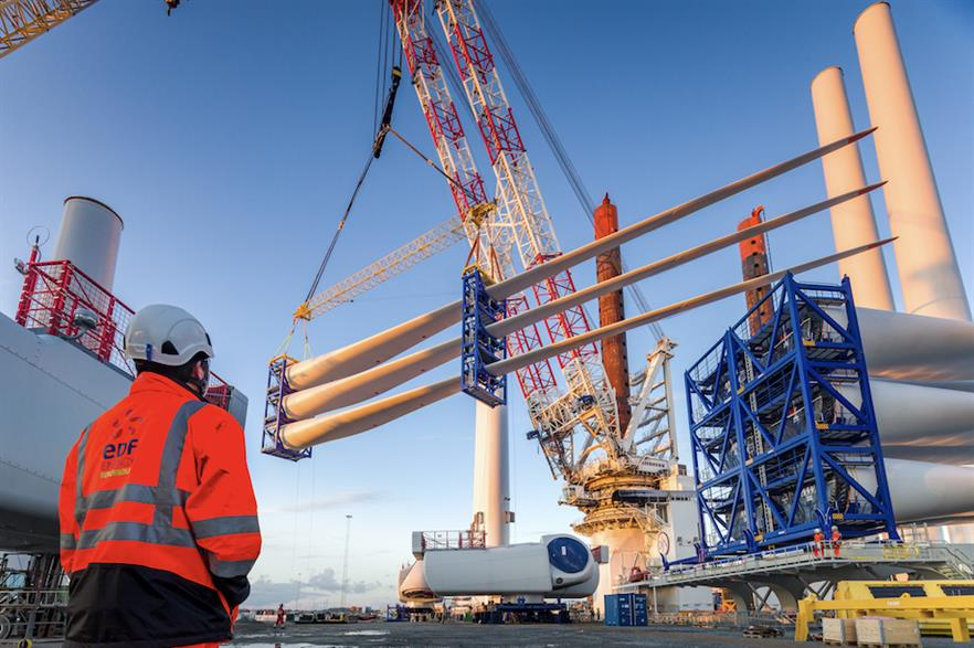 EDF began installing five 8MW offshore wind turbines using gravity-based foundations near Blyth in the north-east of England in November