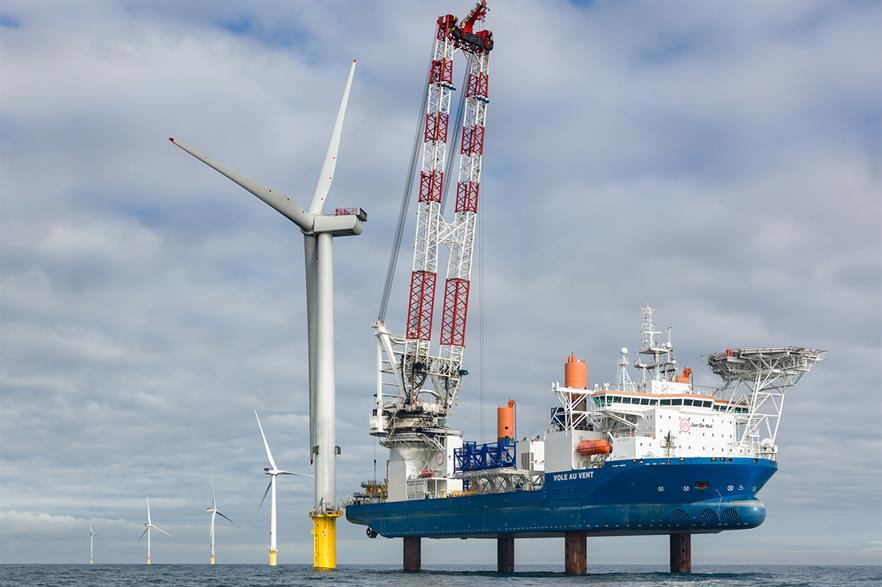 An MHI Vestas V164 turbine installed in the UK's North Sea