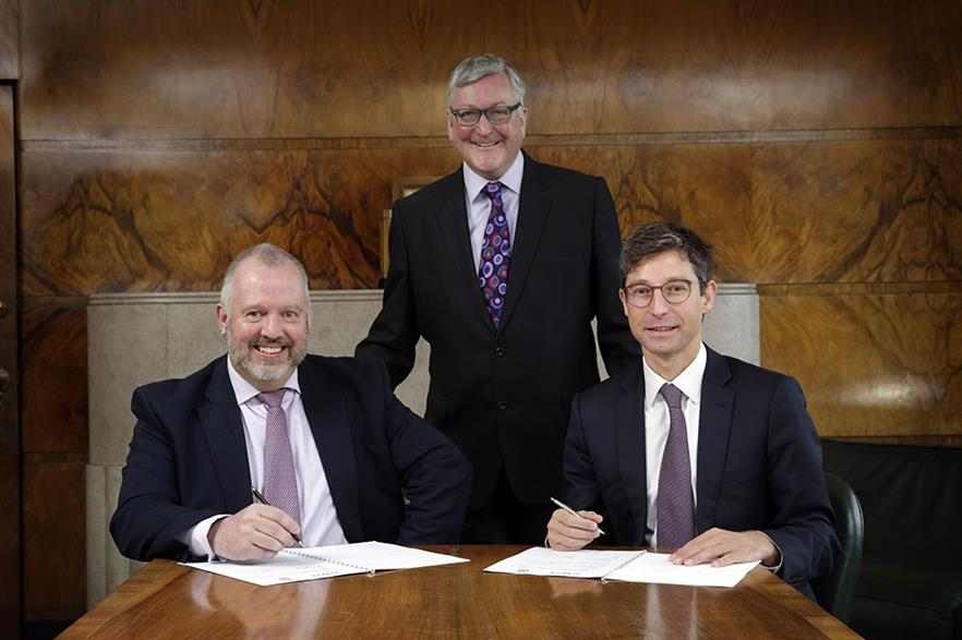 Left to right: Wind Towers Scotland's Alasdair Gammack, Scottish energy minister Fergus Ewing, and EDF ER 's Matthieu Hue