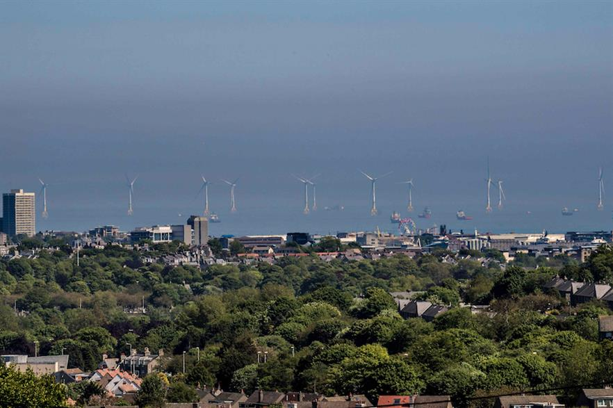 EOWDC's 11 turbines as seen from Aberdeen on the east coast of Scotland (pic credit: Vattenfall UK)