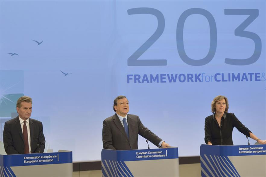 Disappointment  José Manuel Barroso (centre) announces the EC's proposals with Günther Oettinger (left) and Connie Hedegaard