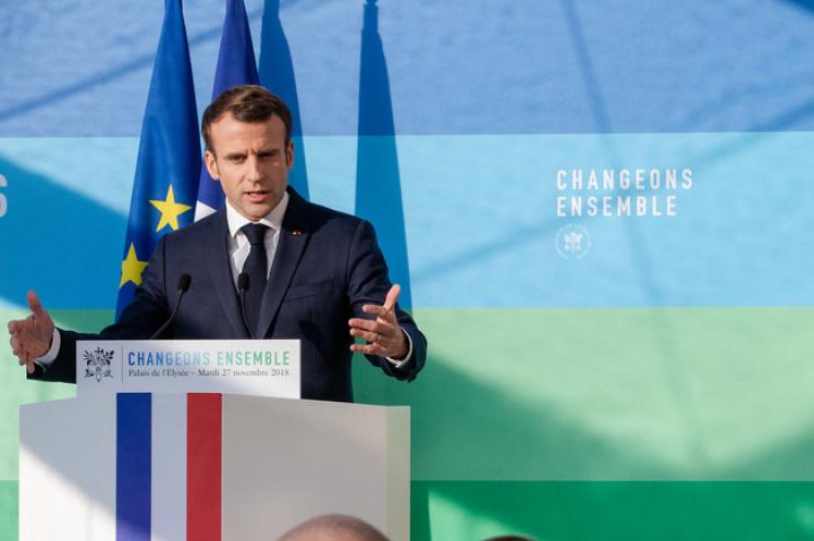 French president Emmanuel Macron sets out the plans for the draft energy plan (pic: Palais de L'Élysée)