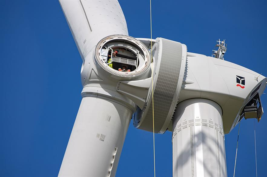 Enercon's E-160 EP5 prototype awaiting the third of its 78.3-metre blades (Pic credit: Klaas-Eisse)