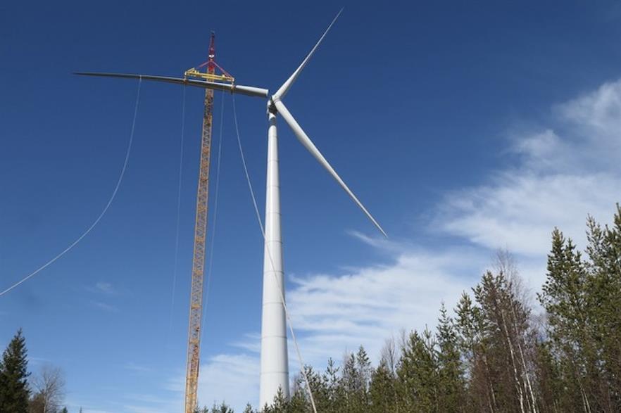 Enercon's first E-147 EP5/4.3MW turbine at Energiquelle's Paltusmäki site