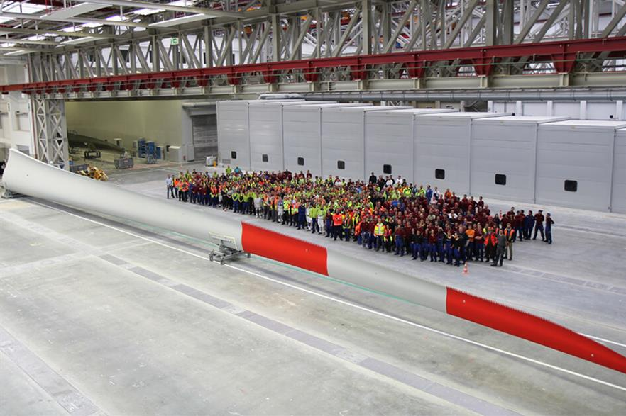 A blade for Enercon's EP4-141 turbine at KTA's facility