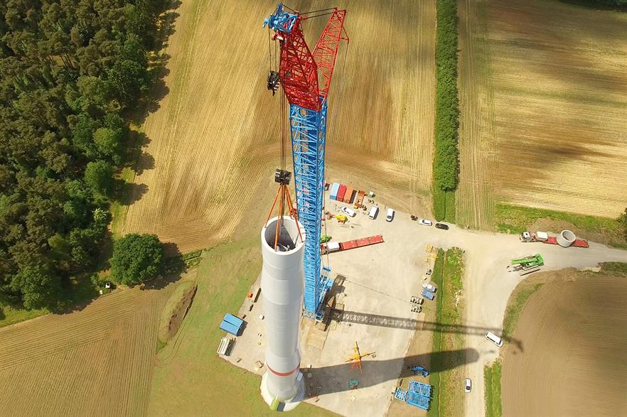 Construction of Enercon's hybrid tower - the manufacturer uses a number of tower suppliers depending on design (pic: Enercon)