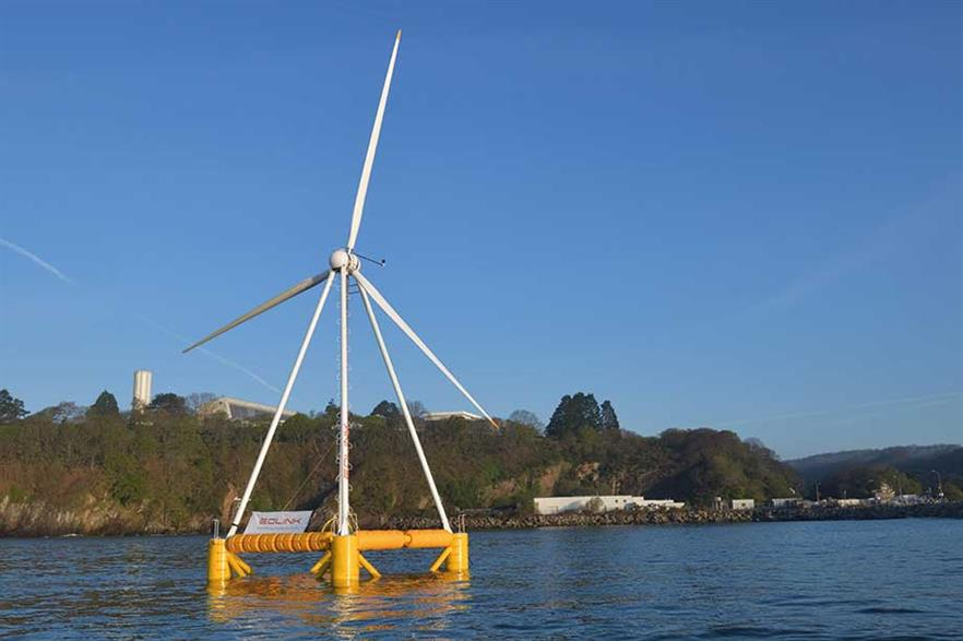 Demonstrator…  Eolink commissioned a 1:10-scale of its floating platform in Brest in late April. The novel design features four slender arms to support the turbine nacelle and rotor rather than a conventional tower