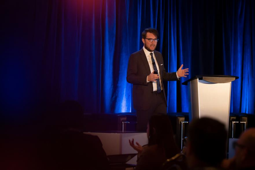 CanWEA regional director for the prairies, Evan Wilson, speaking at the association's Spring Forum in April