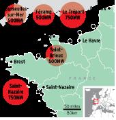 France's five offshore wind-development zones