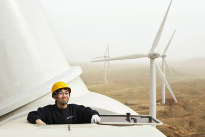 Nordex turbine in Helanshan, China. 53% of China's wind farms have been revamped