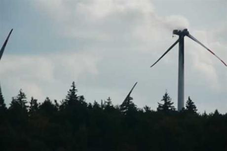 A Fuhrländer turbine on fire in Germany last year