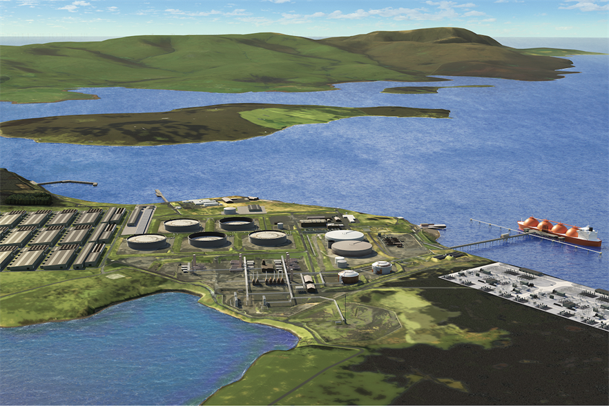 An artist's impression of what the green hydrogen at Flotta could look like