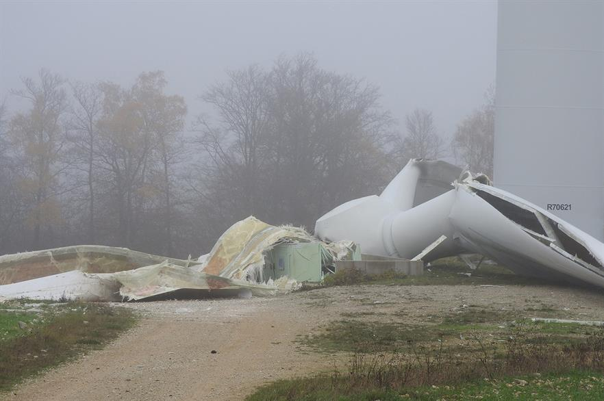 The rotor sheared off a Repower MD77-1500kW turbine in north-east France on 10 November