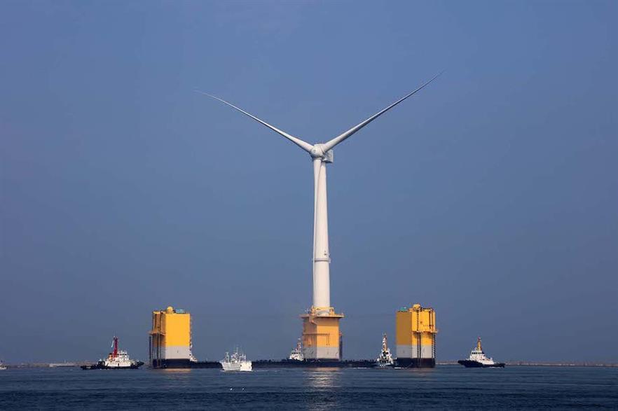 A 7MW Mitsubishi Heavy Industries turbine off the coast of Fukushima, Japan