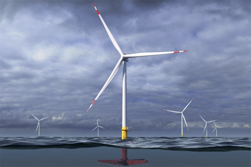 An artist's impression of what the Haliade-X might look like on Glosten's PelaStar platform