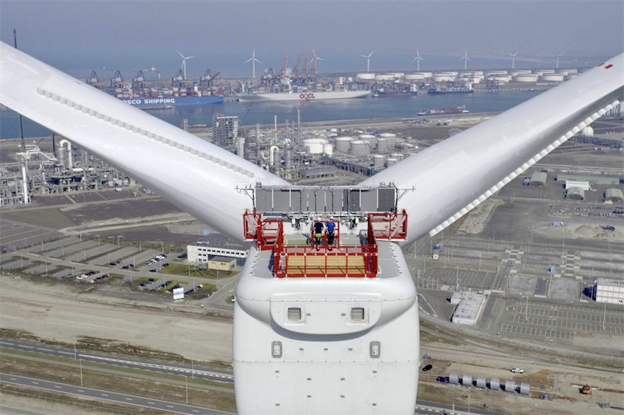 GE's Haliade-X prototype in the Port of Rotterdam, the Netherlands