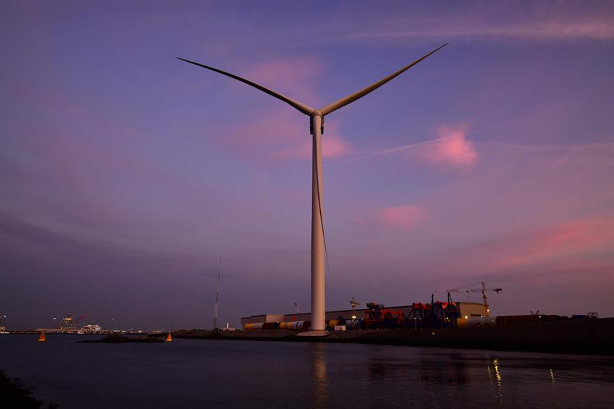 GE Renewable Energy's 14MW Haliade-X prototype is operating at the Port of Rotterdam in the Netherlands