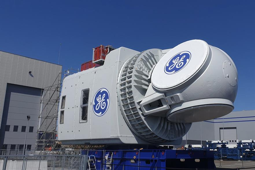 A nacelle for GE's Haliade-X turbine leaving the factory