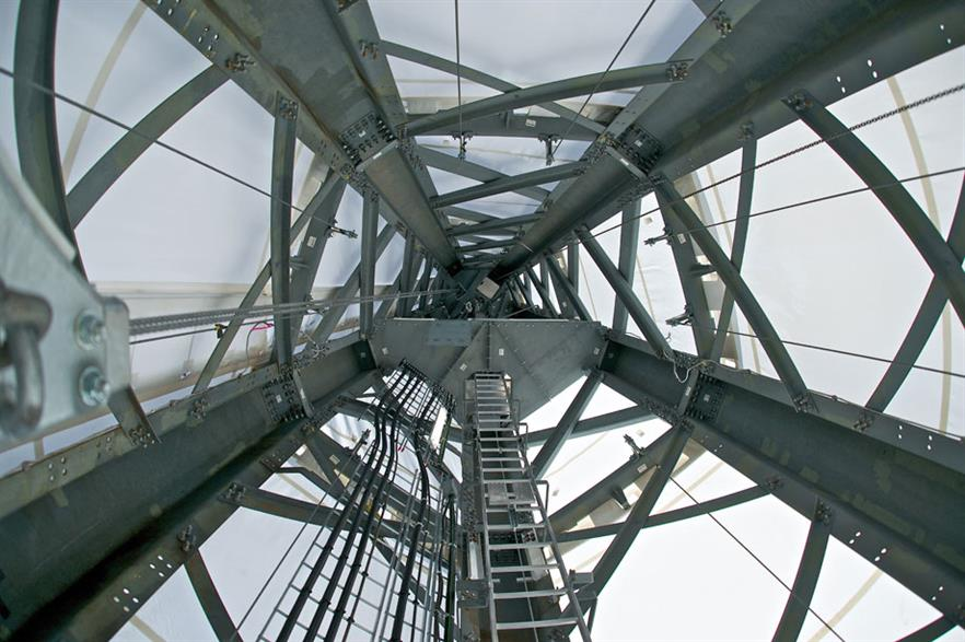 Hidden… GE's new lattice tower has a plastic fabric coating for protection of the internal parts