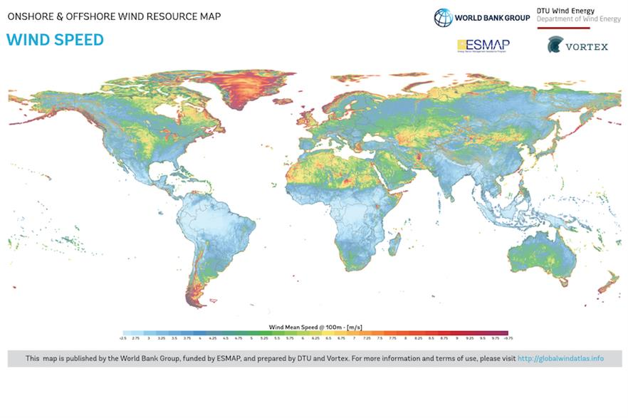 The Global Wind Atlas collates data on wind speed, power density and information about regional terrain