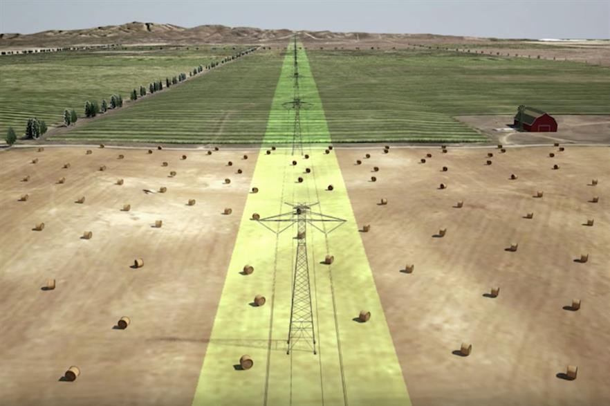An artist's impression of the planned Grain Belt Express transmission line (pic credit: Clean Line Energy)