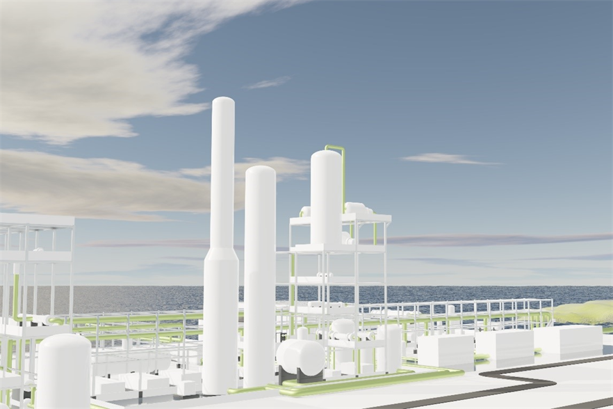 An artist's impression of what the green ammonia project might look like (pic credit: Tek3d)