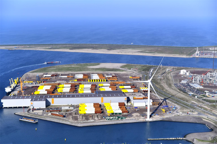 Siemens Gamesa recently filed an intellectual property complaint against GE's Haliade-X turbines, seen here in prototype form in the Port of Rotterdam