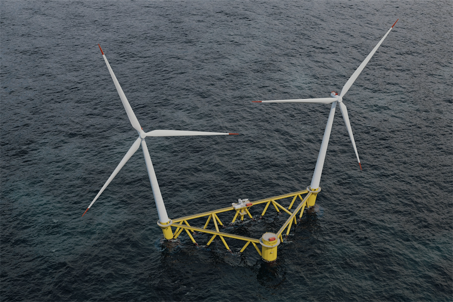 Hexicon has developed a semi-submersible platform that typically features two turbines installed on a single floating platform tethered to seabed by mooring lines