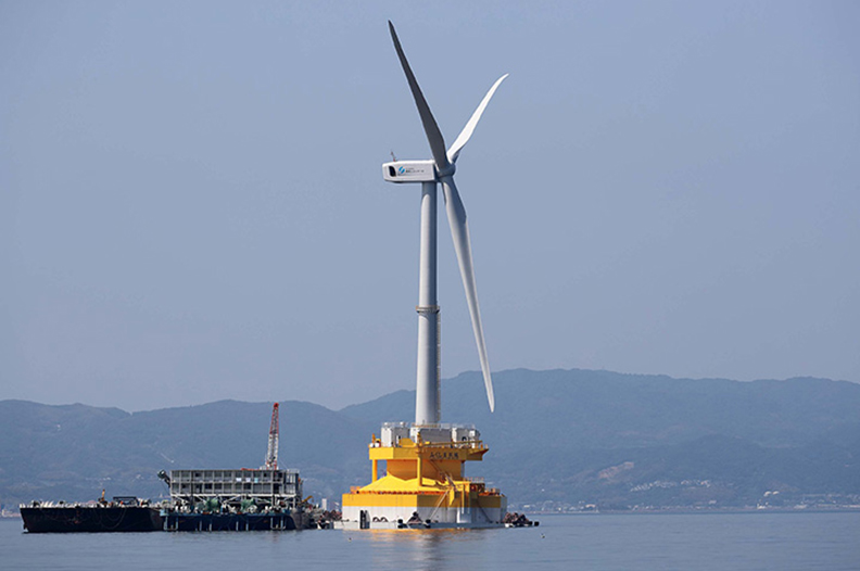 A prototype of Hitachi's downwind 5MW turbine is being installed in Fukushima, Japan