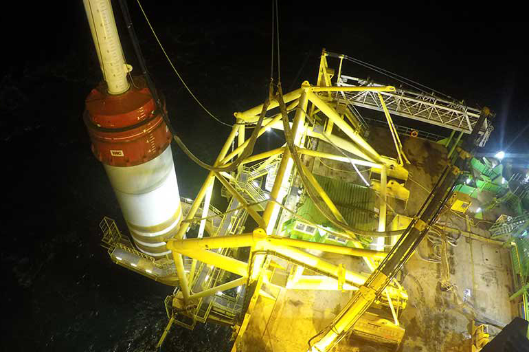 Vattenfall's Horns Rev 3 offshore wind project is under construction off Denmark's coast