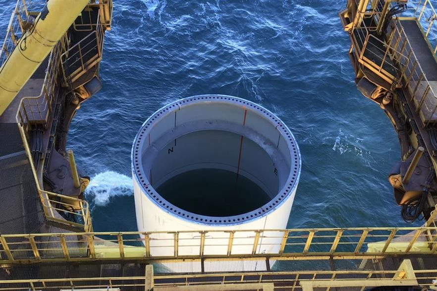 Monopile foundation at Ørsted's 1.2GW Hornsea One wind farm in UK waters