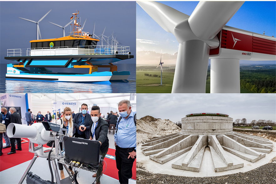 Clockwise from top left: Wallaby Boats crew transfer vessel, Eno Energy Eno160, Anker Foundations prefab foundations and Nawrocki Alpin's RomotionCam
