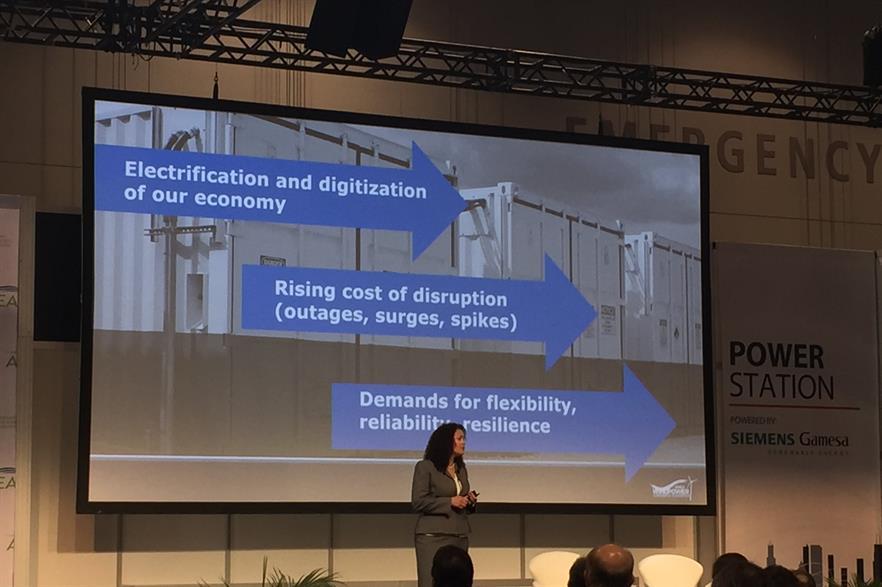 ESA CEO Kelly Speakes-Backman addresses delegates at AWEA Windpower 2018