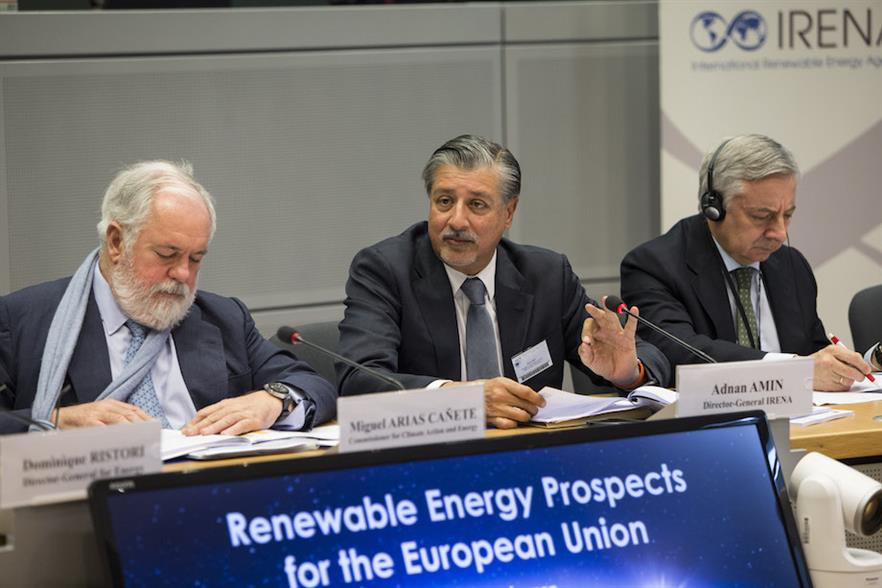 IRENA director-general Adnan Amin (centre) unveils the report alongside European commissioner for energy and climate action, Miguel Arias Cañete (left)