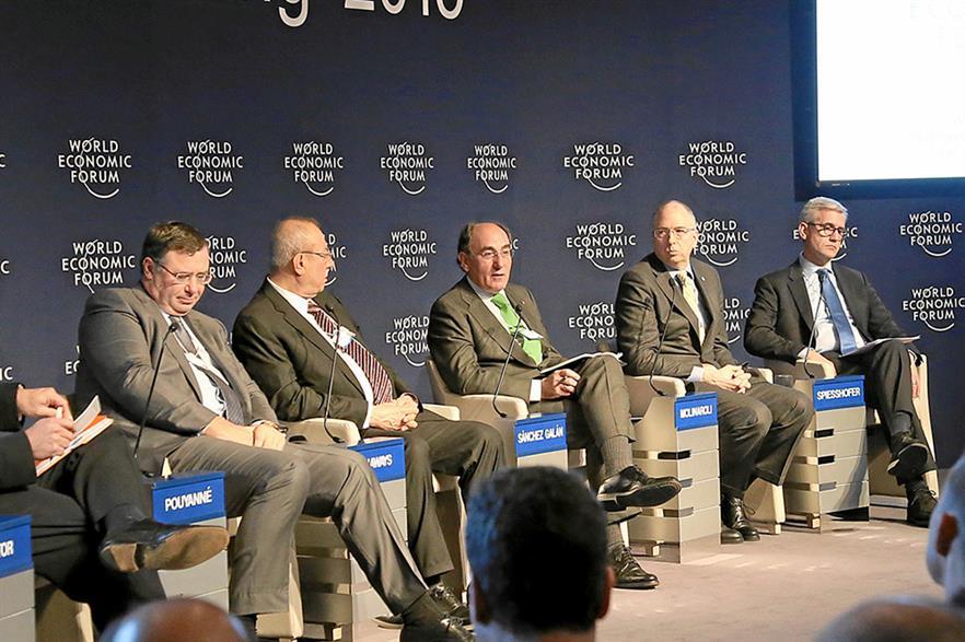 Iberdrola chief executive Ignacio Galan (centre) at the World Economic Forum in Davos (pic: Remy Steinegger)