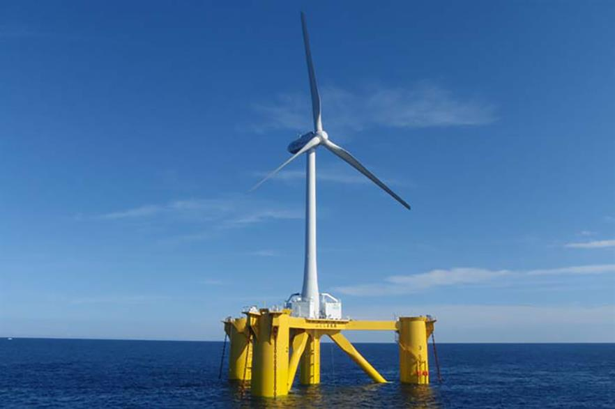 A 2MW Hitachi test turbine on a floating platform off Fukushima, eastern Japan