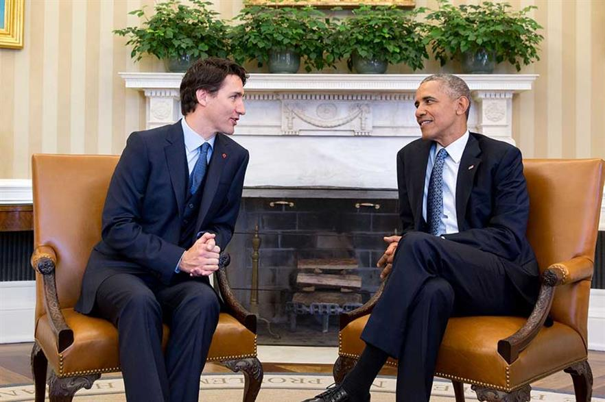Canada's Justin Trudeau and Barack Obama at a meeting in March 2016 (pic: Pete Souza)