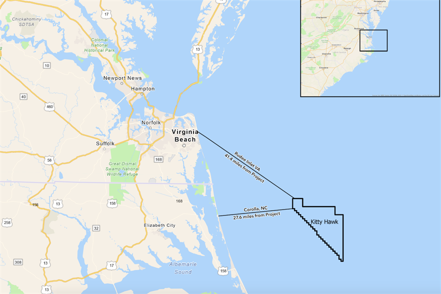 Kitty Hawk North would be built in a 202km2 area off North Carolina (pic credit: Google/Avangrid)